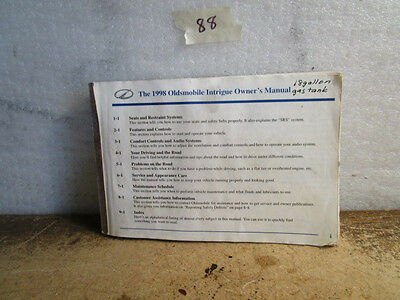 1998 oldsmobile intrigue parts manual