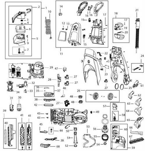 bissell proheat 2x model 9500 manual and parts diagram