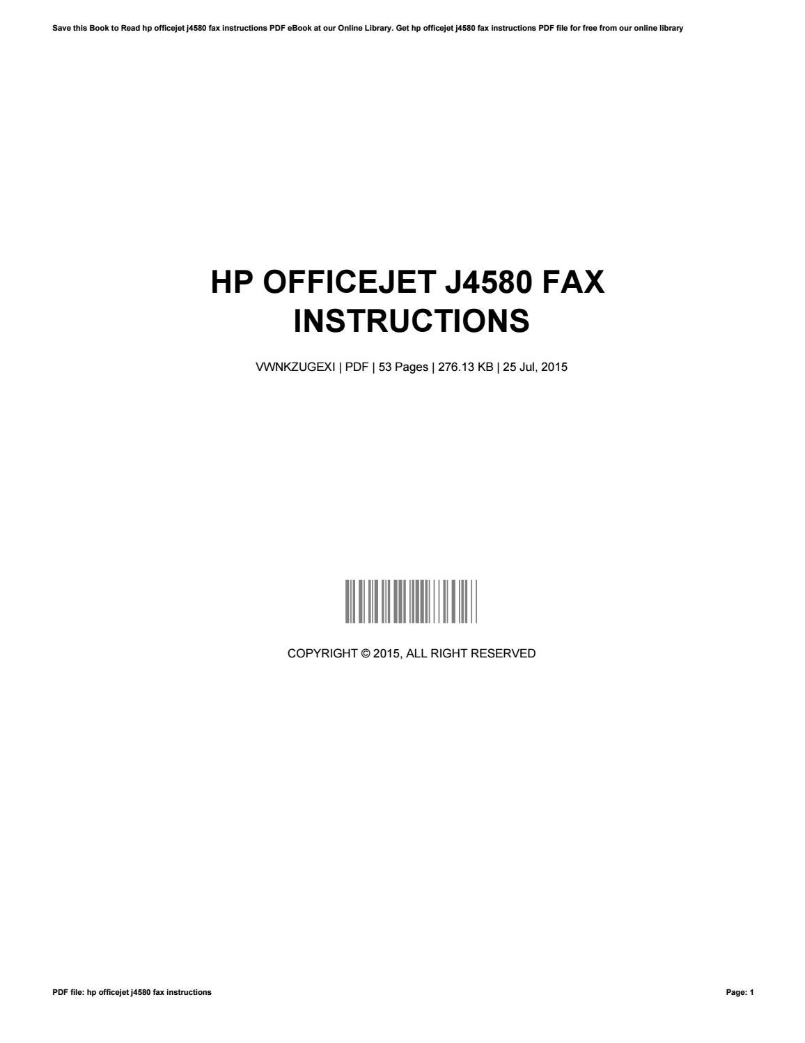 hp officejet j4580 instruction manual